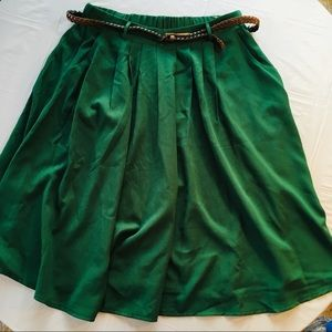 Hot & Delicious Green Belted A-Line Skirt